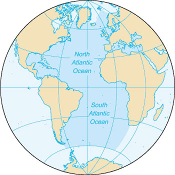 Location Map of the Atlantic Ocean