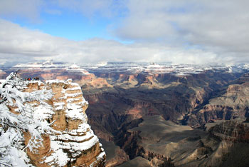 The grand canyon covered in snow