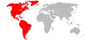 The Old World (Europe, Asia, Africa & Australasia) is shown in Grey