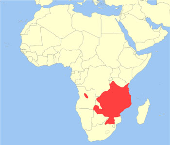 Sable Antelope Range Map (Africa)