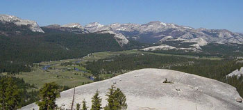 A View of Tuolumne Meadows from high on Lembert Dome